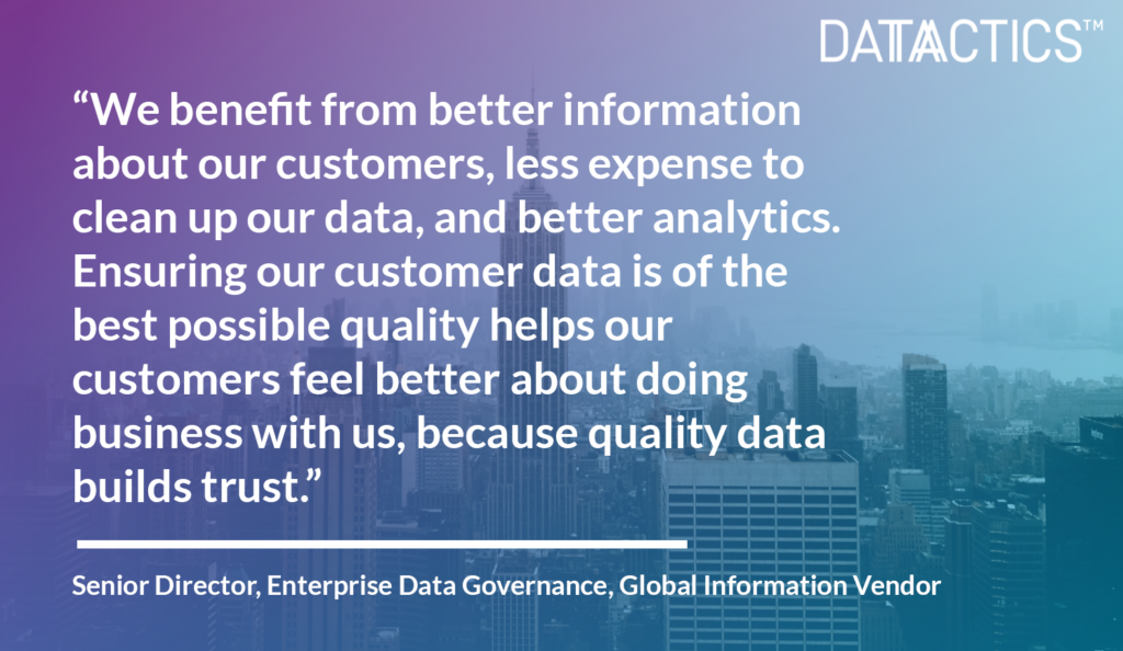 Information Vendor Datactics Customer Success Quote