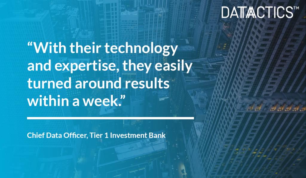 Investment Banking Datactics Customer Success Quote
